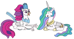 Size: 2808x1484 | Tagged: safe, artist:supahdonarudo, princess celestia, queen novo, alicorn, classical hippogriff, hippogriff, spoiler:my little pony movie, conversation, prone, retirement, simple background, transparent background