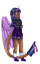 Size: 587x938 | Tagged: safe, artist:nishiito, twilight sparkle, human, ebony verse, alicorn humanization, clothes, converse, dark skin, elf ears, female, freckles, grin, horn, horned humanization, humanized, miniskirt, pleated skirt, shoes, simple background, skirt, smiling, socks, solo, sweater, tailed humanization, white background, winged humanization, wings