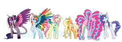 Size: 5360x1852 | Tagged: safe, artist:nishiito, applejack, fluttershy, pinkie pie, rainbow dash, rarity, twilight sparkle, alicorn, earth pony, pegasus, pony, unicorn, ebony verse, alternate hairstyle, applejack's hat, bandana, bedroom eyes, blank flank, choker, clothes, cowboy hat, ear piercing, earring, eyeshadow, female, freckles, glasses, hat, jewelry, makeup, mane six, mare, markings, necklace, one eye closed, piercing, redesign, scarf, simple background, socks, stockings, thigh highs, transparent background, twilight sparkle (alicorn), wink, wristband
