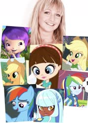 Size: 1173x1646 | Tagged: safe, applejack, rainbow dash, earth pony, human, pegasus, pony, equestria girls, ashleigh ball, blythe baxter, irl, irl human, littlest pet shop, lolirock, photo, plum pudding, strawberry shortcake, talia, voice actor