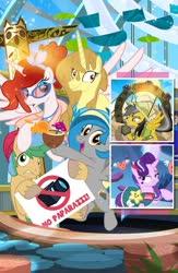 Size: 718x1100 | Tagged: safe, artist:pixelkitties, daring do, starlight glimmer, oc, oc:princess apricity, oc:princess poutine, oc:sunny showers, oc:trailblazer, alicorn, earth pony, pegasus, pony, unicorn, alicorn oc, con book, female, male, mare, stallion, stargate, totem pole, vancouver, vanhoover pony expo 2020