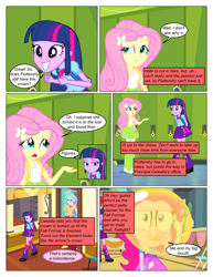Size: 612x792 | Tagged: safe, artist:greatdinn, artist:newbiespud, edit, edited screencap, screencap, angel bunny, fluttershy, pinkie pie, princess celestia, spike, twilight sparkle, dog, rabbit, comic:friendship is dragons, equestria girls, equestria girls (movie), animal, backpack, balloon, blowing up balloons, clothes, collaboration, comic, cutie mark on clothes, dialogue, element of magic, food, frown, gum, hairclip, lockers, paw prints, pointing, principal celestia, screencap comic, smiling, wide eyes
