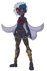 Size: 1488x2222 | Tagged: safe, artist:j053ph-d4n13l, oc, oc only, oc:elizabat stormfeather, oc:nite-mare, equestria girls, alternate hairstyle, alternate universe, armor, belt, boots, cape, clothes, commission, equestria girls-ified, female, goggles, gun, handgun, holster, mask, pistol, pouch, shoes, simple background, solo, transparent background, weapon