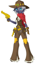 Size: 1251x2217 | Tagged: safe, artist:j053ph-d4n13l, oc, oc only, oc:elizabat sandstorm, oc:elizabat stormfeather, equestria girls, alternate hairstyle, alternate universe, belt, boots, bullet, cigar, clothes, commission, cowboy, cowboy boots, cowboy hat, cowgirl, cowgirl outfit, ear piercing, earring, equestria girls-ified, feather, female, gloves, gun, handgun, hat, holster, jeans, jewelry, knee pads, pants, piercing, revolver, scarf, shirt, shoes, simple background, smoking, solo, stetson, transparent background, vest