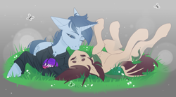 Size: 3333x1854 | Tagged: safe, artist:blue_raven, oc, oc only, oc:slumber, oc:tesseract, bat pony, unicorn, bat pony oc, clothes, couple, cute, eyes closed, grass, hoodie, kissing, on back, scarf, simple background, slumberact, ych result