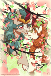 Size: 1181x1772 | Tagged: safe, artist:inuhoshi-to-darkpen, autumn blaze, rain shine, kirin, bedroom eyes, blushing, boop, cloven hooves, female, flower, noseboop, open mouth, raised hoof, tree, underhoof