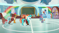 Size: 1920x1080 | Tagged: safe, screencap, lighthoof, ocellus, rainbow dash, shimmy shake, smolder, snips, yona, changedling, changeling, dragon, earth pony, pegasus, pony, unicorn, yak, 2 4 6 greaaat, spoiler:s09e15, bow, cheerleader outfit, clothes, cloven hooves, dragoness, female, flying, hair bow, hat, monkey swings