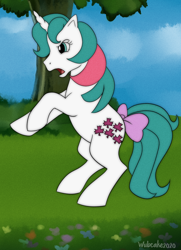 Size: 1000x1380 | Tagged: safe, artist:wubcakeva, gusty, gusty the great, pony, unicorn, angry, bow, cloud, female, flower, g1, g1 to g4, generation leap, grass, mare, open mouth, rearing, signature, sky, solo, tree