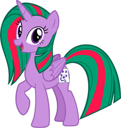 Size: 1280x1349 | Tagged: safe, artist:andoanimalia, gusty, gusty the great, twilight sparkle, alicorn, pony, clothes, cosplay, costume, cutie mark, dyed mane, fake cutie mark, female, g1, g1 to g4, generation leap, horn, looking at you, mare, nightmare night, nightmare night costume, open mouth, paper, raised hoof, simple background, smiling, solo, transparent background, twilight sparkle (alicorn), vector, wings