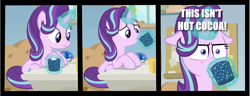 Size: 1161x445 | Tagged: safe, edit, edited screencap, screencap, starlight glimmer, marks for effort, caption, chocolate, drinking, floppy ears, food, hot chocolate, image macro, text