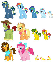 Size: 1920x2185 | Tagged: safe, artist:aleximusprime, applejack, boneless, boneless 2, boneless 6, pinkie pie, rainbow dash, tex, oc, oc:annie smith, oc:apple chip, oc:lightning flash, oc:misty blitz, oc:storm streak, oc:thunderhead, pony, flurry heart's story, alternate hairstyle, baby, baby pony, bandana, big brother ponies, boneless 3, boneless 4, boneless 5, bow, canon x oc, chubby, clothes, colt, concept, cowboy hat, different hairstyle, fat, female, filly, foal, future, g1, g1 to g4, generation leap, group, haircut, hat, male, mare, offspring, older, older applejack, older cheese sandwich, older pinkie pie, older rainbow dash, parent:applejack, parent:oc:thunderhead, parent:rainbow dash, parent:tex, parents:canon x oc, parents:texjack, plump, pudgy pie, ribbon, scarf, short hair, shorter hair, simple background, stallion, stetson, straight, texjack, transparent background, weird al yankovic