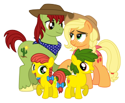 Size: 4438x3663 | Tagged: safe, artist:aleximusprime, applejack, tex, oc, oc:annie smith, oc:apple chip, earth pony, flurry heart's story, alternate hairstyle, bandana, big brother ponies, clothes, colt, cowboy hat, family, female, filly, freckles, g1, g1 to g4, generation leap, group, hat, male, new apple family, offspring, older, older applejack, parent:applejack, parent:tex, parents:texjack, scarf, simple background, stetson, texjack, transparent background, twins