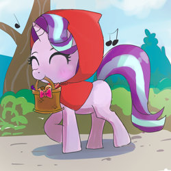 Size: 3000x3000 | Tagged: safe, artist:doran, starlight glimmer, pony, unicorn, basket, blushing, candy, cute, eyes closed, female, filly, filly starlight, food, glimmerbetes, high res, hood, little red riding hood, mare, mouth hold, music notes, smiling, solo, weapons-grade cute, younger