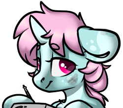 Size: 619x542   Tagged: safe, artist:spoopygander, oc, oc only, oc:scoops, pony, unicorn, drawing, female, mare, simple background, solo, transparent background