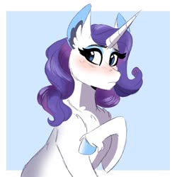 Size: 1200x1200 | Tagged: safe, artist:scarletskitty12, rarity, pony, unicorn, abstract background, blushing, cheek fluff, chest fluff, colored hooves, cute, ear fluff, female, leg fluff, mare, raribetes, solo