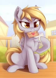 Size: 1368x1900 | Tagged: safe, artist:anti1mozg, derpy hooves, pegasus, pony, cheek fluff, chest fluff, cute, derpabetes, ear fluff, envelope, female, leg fluff, letter, love letter, mare, mouth hold, sitting, solo