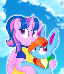 Size: 1435x1671 | Tagged: safe, artist:rainbow eevee, oc, oc only, oc:hsu amity, oc:rainbow eevee, alicorn, eevee, pony, alicorn oc, amityeevee, cheek fluff, clothes, cute, female, huggable, interspecies, lesbian, mare, multicolored hair, not rainbow dash, not twilight sparkle, oc x oc, ocbetes, pokémon, rainbow hair, shipping, shirt, sky, vibrant colours