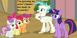 Size: 1152x576 | Tagged: safe, edit, edited screencap, screencap, apple bloom, scootaloo, sweetie belle, terramar, twilight sparkle, alicorn, surf and/or turf, adorabloom, cropped, cute, cutealoo, diasweetes, implied silverstream, jewelry, necklace, pun, speech, terrabetes, twiabetes, twilight sparkle (alicorn)