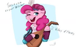 Size: 1280x801 | Tagged: safe, artist:tavifly, pinkie pie, earth pony, pony, abstract background, bard pie, bust, cheek fluff, clothes, cute, dialogue, diapinkes, ear fluff, feather, female, lute, mare, one eye closed, open mouth, singing, solo, the witcher, wink