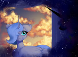Size: 1624x1191   Tagged: safe, artist:livitoza, princess luna, alicorn, pony, cloud, duality, ethereal mane, face not visible, female, floppy ears, hair over one eye, mare, s1 luna, sky, starry mane