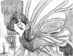 Size: 1977x1529 | Tagged: safe, artist:petanoprime, rarity, pony, unicorn, butterfly wings, candle, chalice, clothes, dress, eyes closed, female, glowing horn, grayscale, horn, magic, mare, monochrome, signature, solo, telekinesis, traditional art, wings