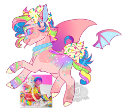 Size: 900x800 | Tagged: safe, artist:lavvythejackalope, oc, oc only, food pony, original species, pony, candy, collar, food, irl, jewelry, lollipop, male, multicolored hair, necklace, photo, ponified, rainbow hair, simple background, solo, stallion, transparent background, unshorn fetlocks, wings