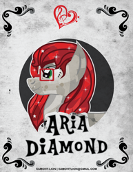 Size: 2551x3300 | Tagged: safe, alternate version, artist:samoht-lion, oc, oc only, oc:aria diamond, crystal pony, bust, female, glasses, mare, solo, starry eyes, text, wingding eyes