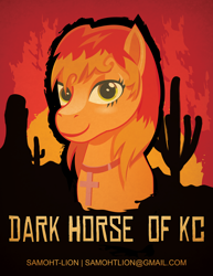 Size: 5100x6600 | Tagged: safe, artist:samoht-lion, oc, oc only, oc:darkhorse, earth pony, pony, bust, cactus, cross, earth pony oc, female, jewelry, mare, necklace, smiling, solo, text