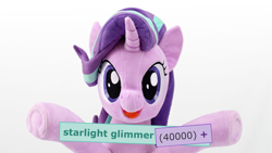 Size: 4096x2304 | Tagged: safe, artist:nekokevin, edit, edited edit, starlight glimmer, pony, unicorn, derpibooru, series:nekokevin's glimmy, cute, female, glimmerbetes, irl, mare, meta, milestone, photo, plushie, simple background, solo, tags, underhoof