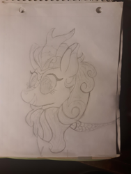 Size: 2448x3264 | Tagged: safe, artist:kody02, autumn blaze, kirin, pony, black and white, female, grayscale, grin, high res, mare, monochrome, paper, pencil, smiling, traditional art