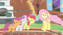 Size: 640x359 | Tagged: safe, edit, edited screencap, editor:undeadponysoldier, screencap, apple bloom, fluttershy, scootaloo, sweetie belle, earth pony, pegasus, pony, unicorn, stare master, caption, cutie mark crusaders, faic, female, filly, fluttershy's cottage, image macro, mare, one eye closed, text, yelling