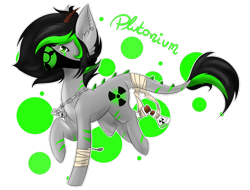 Size: 1024x780 | Tagged: safe, artist:silveer-moon, oc, oc only, oc:plutonium, object pony, original species, bandana, ear fluff, element pony, horns, ionizing radiation warning symbol, leonine tail, male, ponified, radioactive, raised hoof, simple background, solo, stallion, transparent background