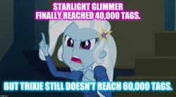 Size: 1280x714 | Tagged: safe, edit, edited screencap, screencap, trixie, equestria girls, rainbow rocks, image macro, implied starlight glimmer, meme, meta, solo, trixie yells at everything