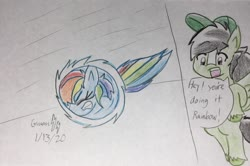 Size: 2316x1536 | Tagged: safe, artist:gmangamer25, rainbow dash, oc, oc:gamer blitz, pegasus, pony, ball, dialogue, eyes closed, female, gritted teeth, male, mare, motion lines, rainball, rolling, sonic the hedgehog (series), spin dash, stallion, traditional art