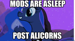 Size: 625x345 | Tagged: safe, edit, edited screencap, editor:theglitchedwolf, screencap, princess luna, alicorn, pony, luna eclipsed, caption, female, image macro, mare, meme, mods are asleep, night, smiling, solo, text, the fun has been doubled