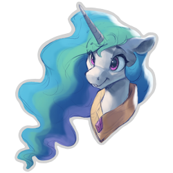 Size: 1000x1000 | Tagged: safe, artist:vanillaghosties, edit, princess celestia, alicorn, pony, bust, cropped, cute, cutelestia, ethereal mane, eye clipping through hair, eyebrows visible through hair, female, floppy ears, mare, missing accessory, peytral, simple background, smiling, solo, transparent background, white outline