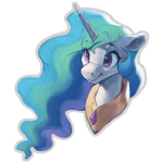 Size: 1000x1000   Tagged: safe, artist:vanillaghosties, edit, princess celestia, alicorn, pony, bust, cropped, cute, cutelestia, ethereal mane, eye clipping through hair, eyebrows visible through hair, female, floppy ears, mare, missing accessory, peytral, simple background, smiling, solo, transparent background, white outline