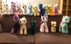 Size: 3264x2040 | Tagged: safe, apple bloom, applejack, cheerilee, fluttershy, minty, princess cadance, princess celestia, princess luna, queen chrysalis, rainbow dash, rarity, songbird serenade, starlight glimmer, tempest shadow, trixie, twilight sparkle, alicorn, changeling, earth pony, pegasus, pony, unicorn, spoiler:my little pony movie, couch, group photo, irl, living room, photo, plushie, ponies in real life, twilight sparkle (alicorn)