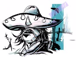 Size: 1920x1440 | Tagged: safe, artist:chaosmauser, king sombra, abstract background, deviantart watermark, eye glint, eyepatch, king sombrero, metal gear, metal gear rising, obtrusive watermark, raiden, solo, sombrero, video game reference, watermark