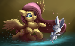 Size: 4407x2700   Tagged: safe, artist:auroriia, angel bunny, fluttershy, pegasus, pony, rabbit, animal, cute, dancing, duo, eyes closed, female, high res, mare, open mouth, shyabetes, smiling, spread wings, three quarter view, wings