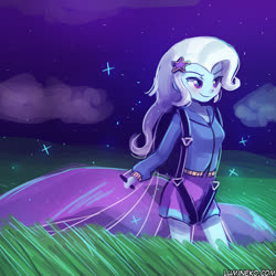 Size: 750x750 | Tagged: safe, artist:lumineko, trixie, equestria girls, clothes, cloud, female, night, parachute, skirt, sky, solo