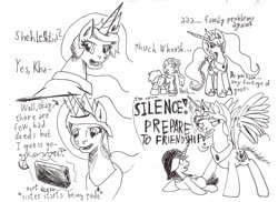 Size: 1920x1396 | Tagged: safe, artist:khaki-cap, princess celestia, oc, oc:khaki-cap, angry, comic, earth pony oc, sketch, stressed, unicorn oc