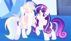 Size: 1920x1119   Tagged: safe, artist:nighty-drawz, princess flurry heart, oc, oc:lia, pony, unicorn, base used, magical lesbian spawn, offspring, older, parent:rainbow dash, parent:twilight sparkle, parents:twidash