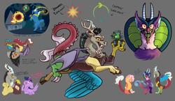 Size: 5000x2900 | Tagged: safe, artist:loryska, cosmos (character), discord, grogar, twilight sparkle, oc, oc:larkspur, alicorn, draconequus, hybrid, bell, cutie mark, grogar's bell, interspecies offspring, offspring, parent:discord, parent:fluttershy, parents:discoshy, twilight sparkle (alicorn), young discord, younger