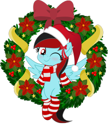 Size: 5000x5786 | Tagged: safe, artist:jhayarr23, oc, oc:daytona, pegasus, pony, blushing, bow, christmas, clothes, cute, female, half-breed, hat, holiday, jhayarr23's holiday ych, mare, movie accurate, one eye closed, santa hat, scarf, simple background, socks, solo, striped socks, transparent background, wink, wreath, ych result