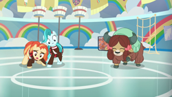 Size: 1920x1080 | Tagged: safe, screencap, lighthoof, shimmy shake, yona, earth pony, pony, yak, 2 4 6 greaaat, spoiler:s09e15, bow, cloven hooves, female, hair bow, mare, monkey swings, trio