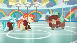 Size: 1920x1080 | Tagged: safe, screencap, lighthoof, shimmy shake, yona, earth pony, pony, yak, 2 4 6 greaaat, spoiler:s09e15, bow, cloven hooves, female, hair bow, mare, monkey swings