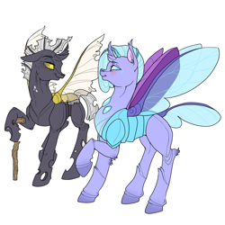 Size: 3000x3000   Tagged: safe, artist:sourcherry, oc, oc only, oc:felicity, oc:imago, changedling, changeling, cane, changedling oc, changeling oc, duo, looking at each other, old, simple background, walking stick, white background, yellow changeling