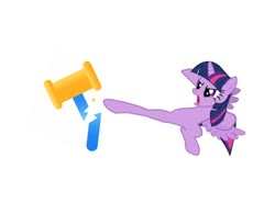 Size: 1501x1170 | Tagged: safe, edit, editor:theglitchedwolf, twilight sparkle, alicorn, pony, female, hammer, kick, kicking, mare, simple background, solo, twilight sparkle (alicorn), white background