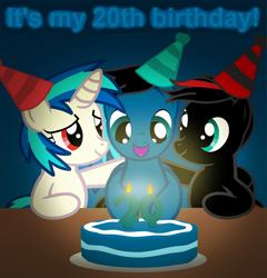 Size: 3589x3737 | Tagged: safe, artist:agkandphotomaker2000, dj pon-3, vinyl scratch, oc, oc:arnold the pony, oc:pony video maker, pegasus, unicorn, birthday, birthday cake, birthday hats, cake, candle, canon x oc, food, videoscratch